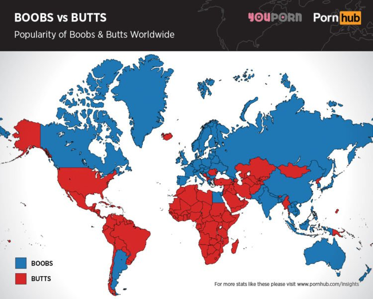 Pornhub: Boobs vs. butts