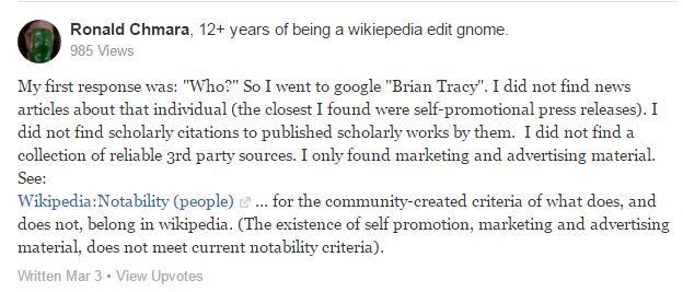 Marele Brian Tracy nu are pagină de wikipedia